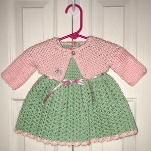 Other - Mint Green & Pink Crochet Dress & Cardigan